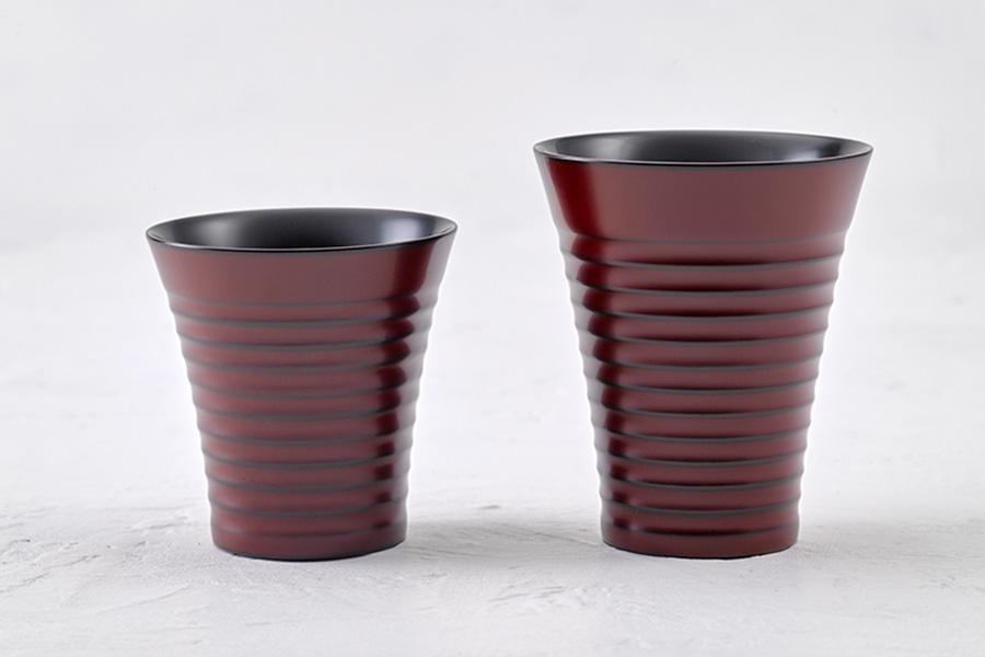 掻き目自由杯(朱 / 木地呂) 小 ・ 大