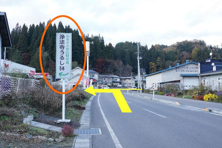 ③直進、右側に見える浄法寺総合支所を通過後、丁字路を左折してください。