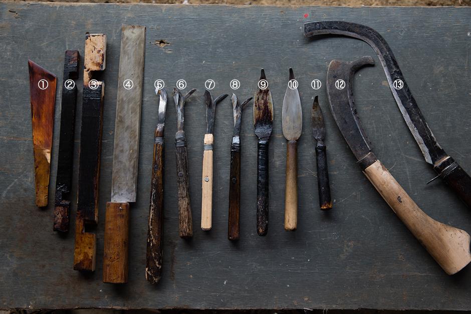 うるし掻きの道具〈工藤竹夫さんの道具〉